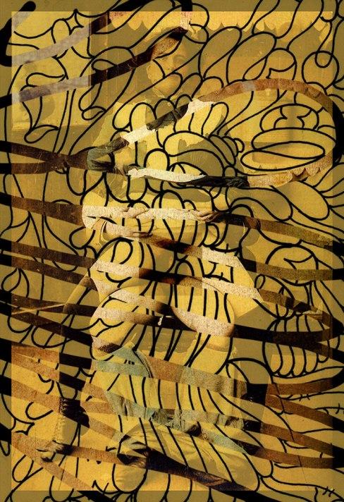Title: Gestural Battles-3-- Medium: Xerox Transfer Digital Monoprint on Canvas Paper, 18x24'-- By DSC-2015